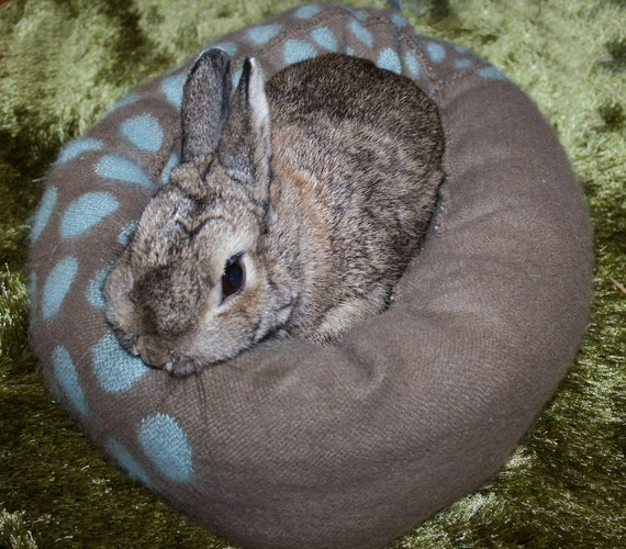 Ugli Donut bunny bed for a small sized rabbit soft brushed wool Duck Egg blue and taupe