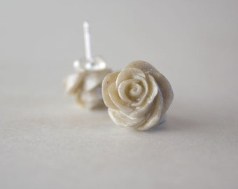 Pearl White Rose Button Earrings
