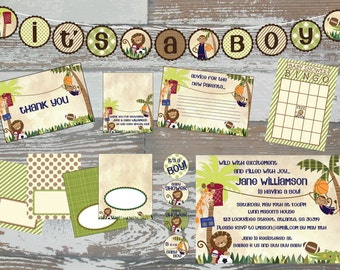 Printable Lambs & Ivy Team Safari Baby Shower Deluxe Kit