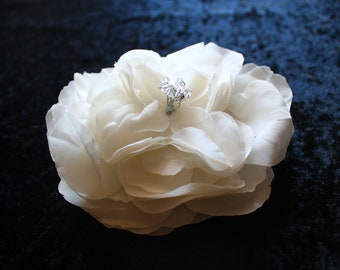 Bridal Ivory Hair Flower Fascinator, Romantic Cabbage Rose,Hair Clip with Swarovski Crystals