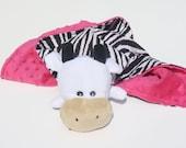 Lovey/Security Blanket - Zebra Print Cotton Fabric, Stuffed Cow Plush Toy, Pink Minky, Infant Animal Blanket, Black & White Lovie