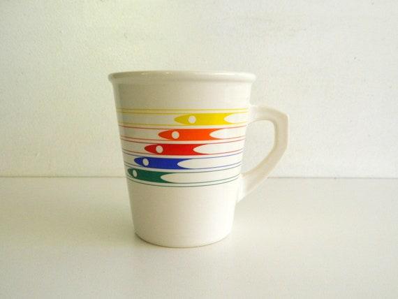 Rainbow 80's Coffee Mug Cup White