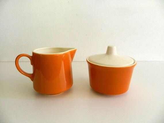 Vintage Creamer and Sugar Bowl Set Orange Cream