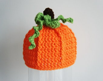 Pumpkin Hat, Halloween Beanie Hat, Crochet Baby Hat, Baby Hat, Orange, Green, photo prop