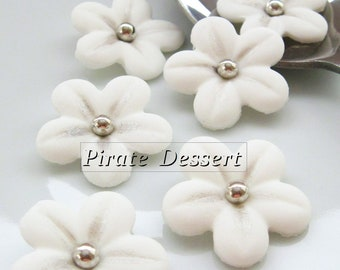 WHITE Sugar Flowers - 1 inch (25mm) Silver Fondant Blossoms - Edible cake decorations (White and Silver)(12 pieces)