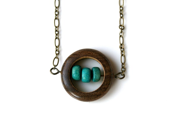 Wooden Minimalist Necklace. Simple Brown and Turquoise