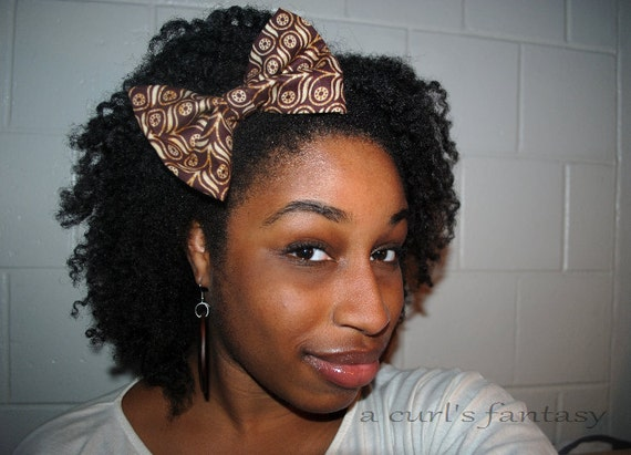 Large Brown African Batik Hair Bow