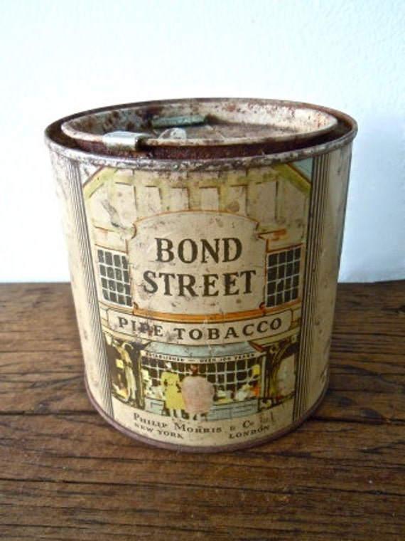 handmade soy candle in vintage bond street pipe tobacco tin
