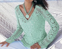 Spring / fall women crochet blouse - MADE TO ORDER
