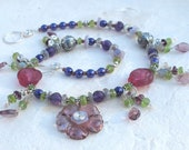 Purple Pearl, Amethyst, Labradorite and Peridot Necklace