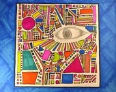 "Tribal Eye Geo Melee / Photograph Print / 8"" x 8"" / Shapes Circles Triangles Squares Red Orange Eye Pencil"