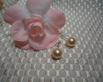 Soft Apricot Peach Pearl Earrings in Sterling Silver