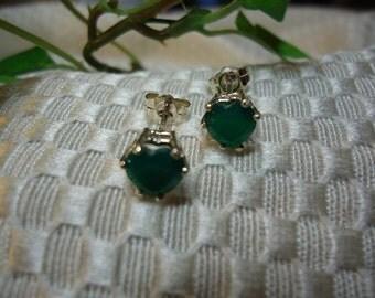 Heart shaped Emerald Green Botswana Agate Earrings in Sterling Silver  #213