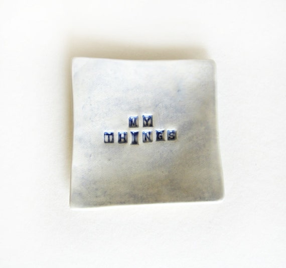 "New ""MY THINGS"" Porcelain Trinket Tray. White with blue accent."