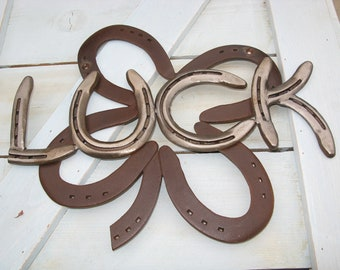 Four Leaf Clover Luck Recycled Horseshoe Sign- Rusted Clear Coat Finish