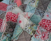 Twin Size Quilt, Rag, in Verona fabric by Riley Blake, Teal and Pink and Grey, Last One, MADE TO ORDER