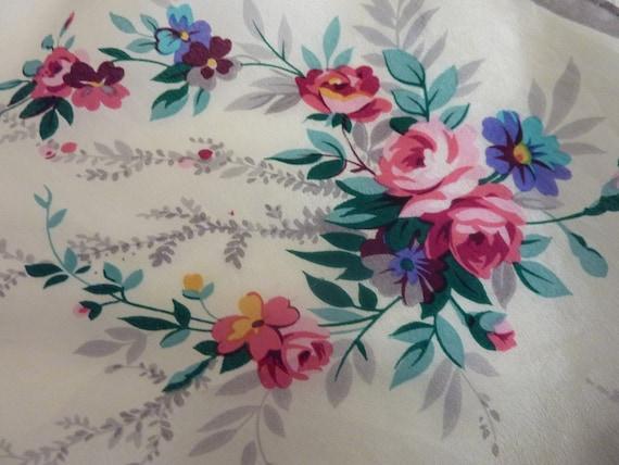 Vintage 1980s designer  floral silk scarf- Vintage Accessories - the Emillie