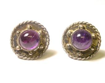 Vintage Amethyst Earrings - Sterling Silver Cabochon Amethyst Round - Screw Back Earrings - February Birthstone - Purple # 171