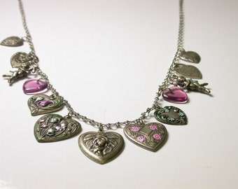 Vintage Dangling Hearts Cupid Necklace - Silver Tone - Weight 20.2 Grams - Valentines - Love # 552