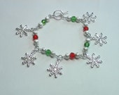 Snowflake Charm Bracelet with Red and Green Crystals