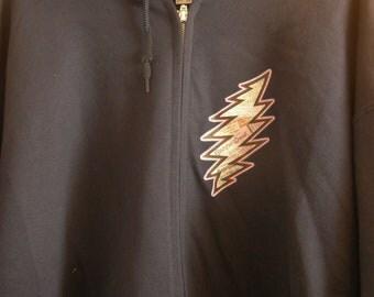 "Grateful Dead ""Ticket stub "" bolt - zip up Hooded sweatshirt"