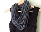 Gray Scarf Necklace .. Gray Scarf .. Gray Infinity Scarf .. Grey Scarf .. Chunky Scarf .. Knit Chain Scarf .. Indie Clothes .. Cute Scarf - DottieQ