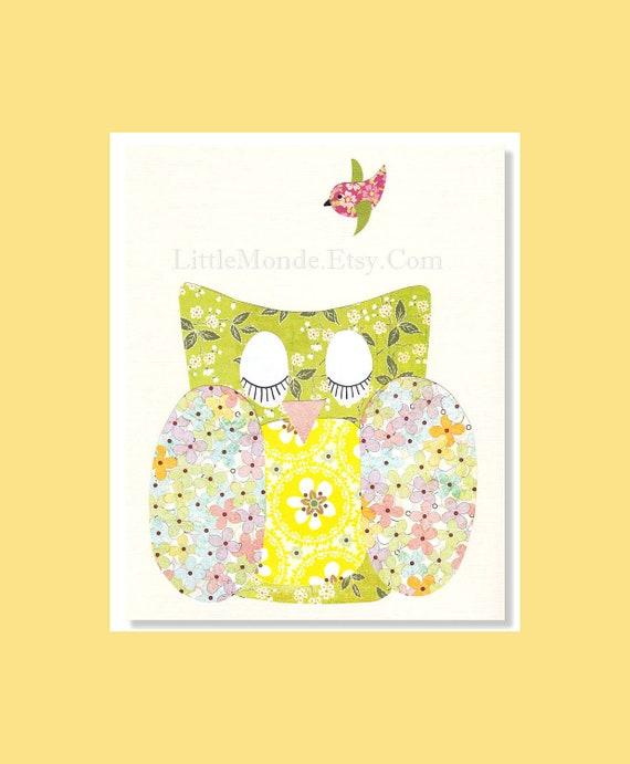 NURSERY Owl PRINTS, Nursery Art Prints, Personalized Nursery Print, Baby Girl Nursery Art, Pastel Nursery Print, Baby Art