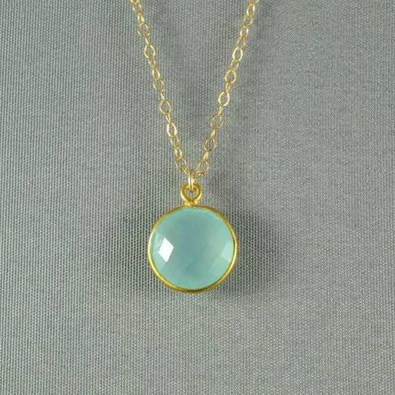 Aqua Blue Chalcedony Necklace, Gold Vermeil Bezel, 14K Gold Fill Chain, Beautiful Stone Jewelry