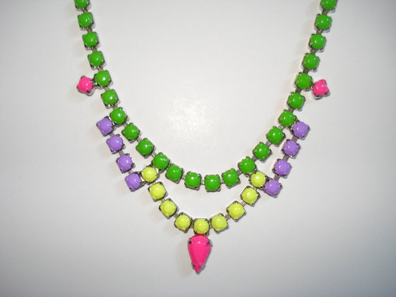 Candy Colored Neon Hand Painted Vintage Rhinestone Necklace