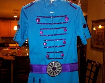 TURQUOISE PURPLE Dress with Leggings and Belt