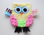 Owl Crinkle  Toy in Yellow and Pink