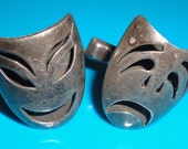 925 silver made in mexico theatre smile now cry later cuff links FREE SHIPPING in the US