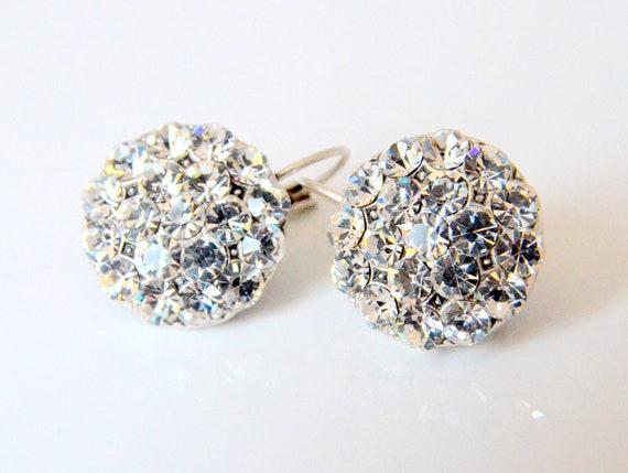 art deco clear crystal swarovski rhinestone tibetan silver plated earrings wedding jewelry bridal jewelry bridesmaid gifts