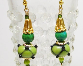 Lamp Work Earrings, Green Lamp Work Earrings,  Jasper and Lamp Work Earrings