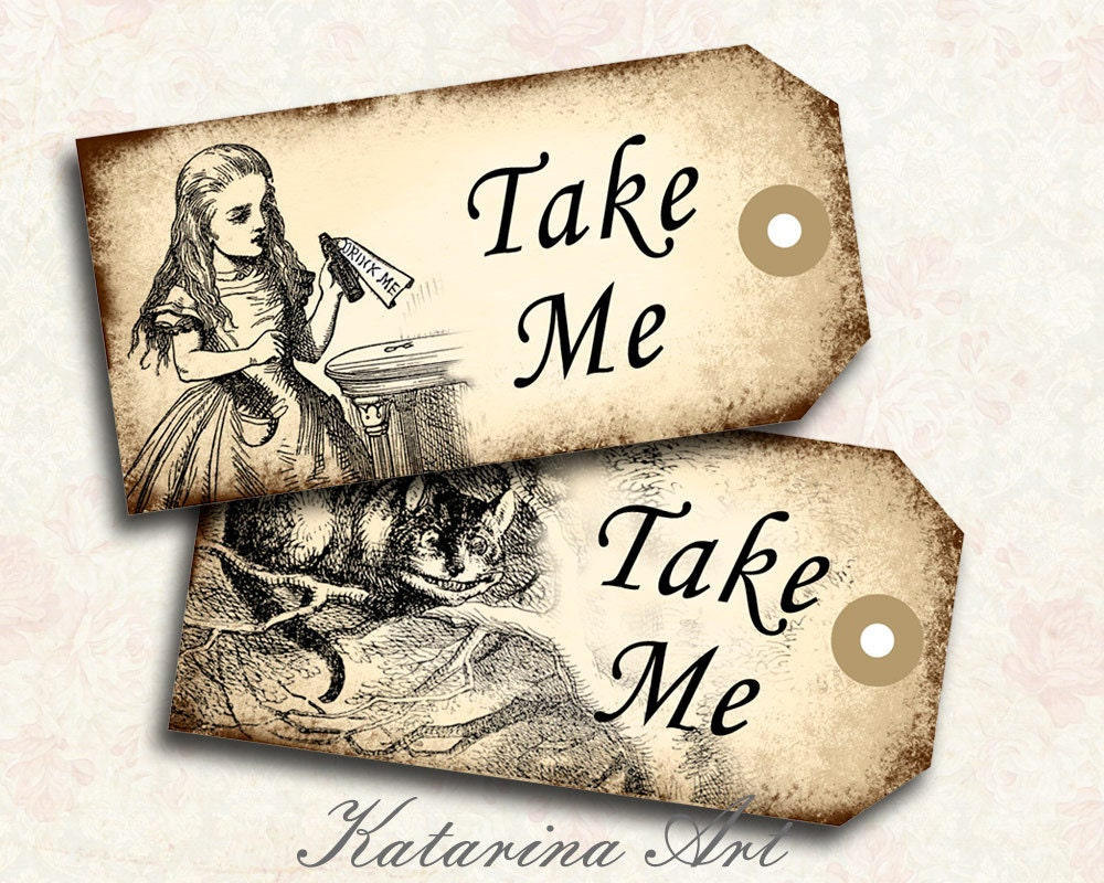alice in wonderland tags template - etsy your place to buy and sell all things handmade
