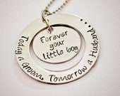 Mother of the Groom - Hand Stamped Stainless Steel Necklace - Personalized - Can be Put on Keychain for Father - Wedding Gift for Mom or Dad