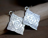 Celtic square sterling silver earrings, Odin, scandinavian inspired earrings, sterling silver clip on earrings option
