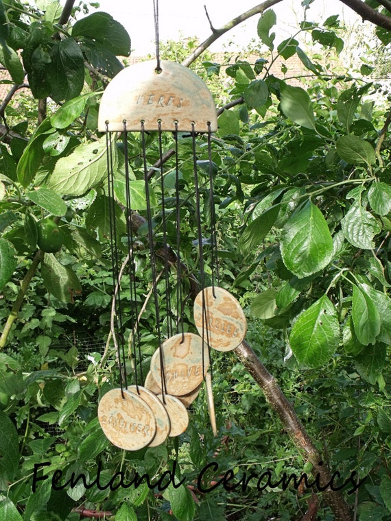 Herb Garden, Unique Ceramic Wind Chimes.
