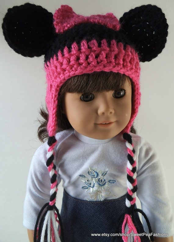 American Girl Crocheted Girl Mouse Ear Flap Hat
