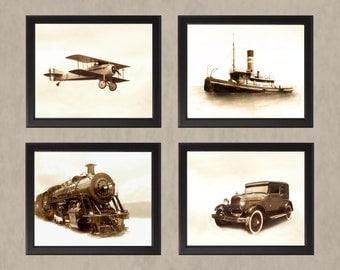 Transportation Set 1 in Sepia- Four Photos - Adventure Travel History Boys Room Vintage Antique Airplane Plane Car Train Boat Ship