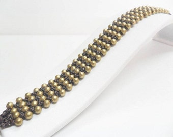 Ball Brass Bead Row Bracelet