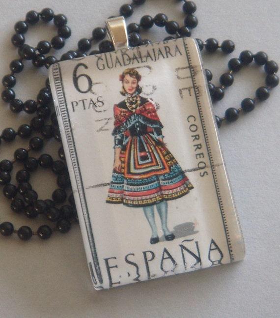 Vintage Spain Espana Guadalajara Postage Stamp Glass Tile Pendant