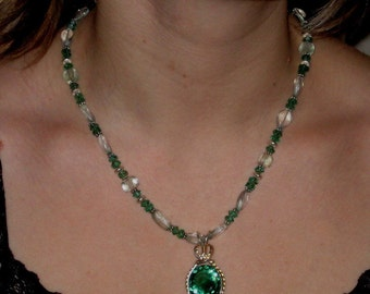 Green Amethyst and Green Quartz Necklace with Wire Wrapped Green Amethyst Pendant