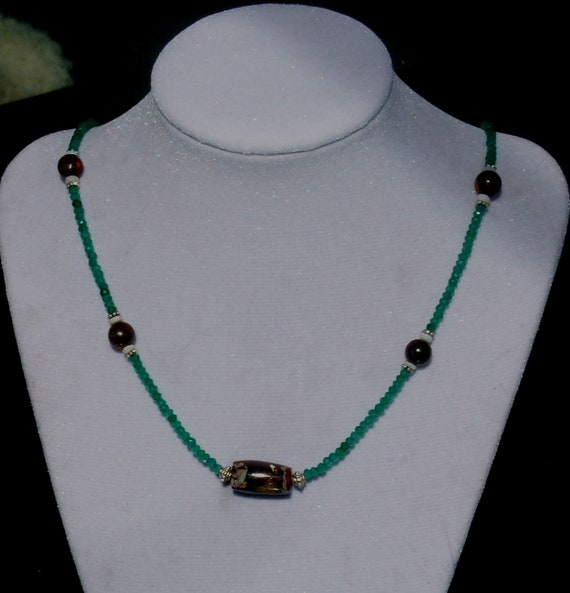 Dainty and Sparkling Green Onyx, Boulder and Crystal Opal, and Sterling Silver Necklace