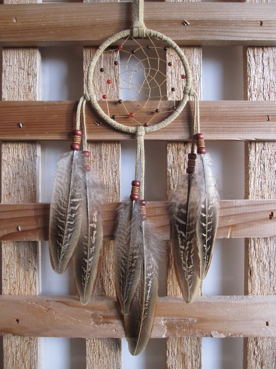 FALL SALE 15% OFF - Buckskin Suede Dream Catcher with Ringneck Pheasant Feathers