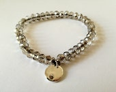 WHITE SWAN Faceted Glass Beads Bracelet with Silver Diamond like Charm