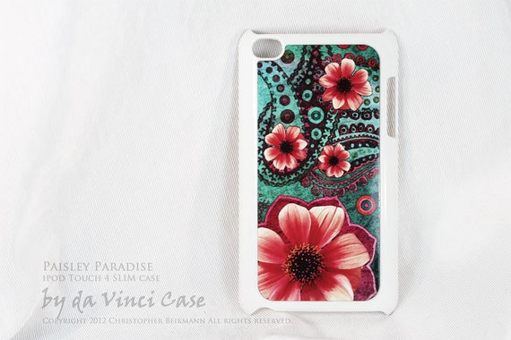 Paisley Apple iPod Touch case - Paisley Paradise - teal green and orange iPod Touch 4 case - art and protection for your mp3 player