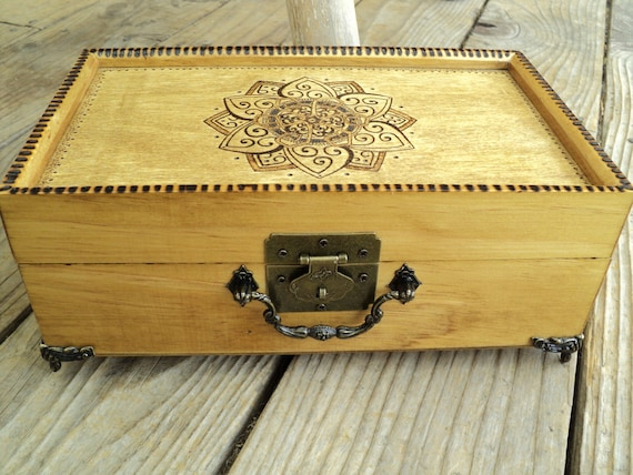 Lotus Design Wooden Wood Burned Jewelry Box