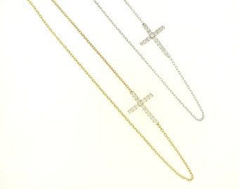 Small Sideway Cross Necklace-Rose Gold