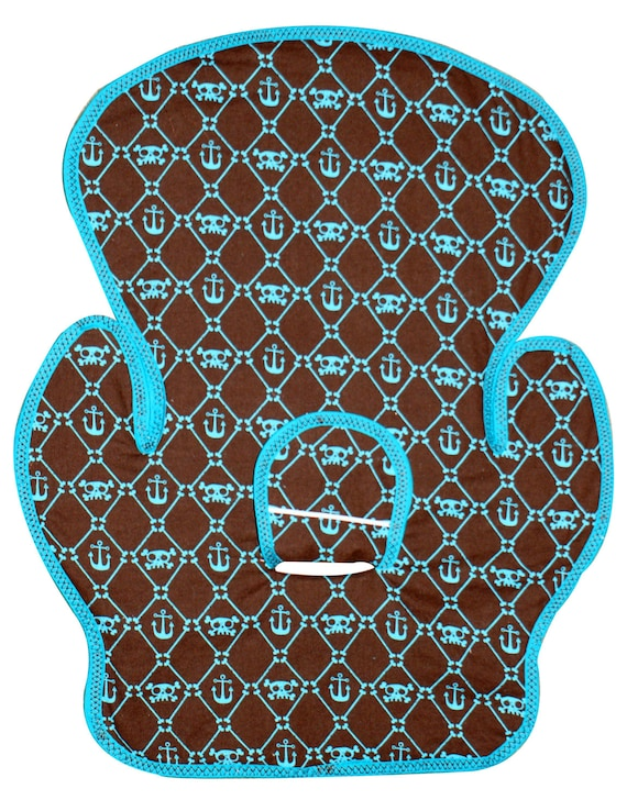 Teal and Brown Skull and Anchor Car seat Pad